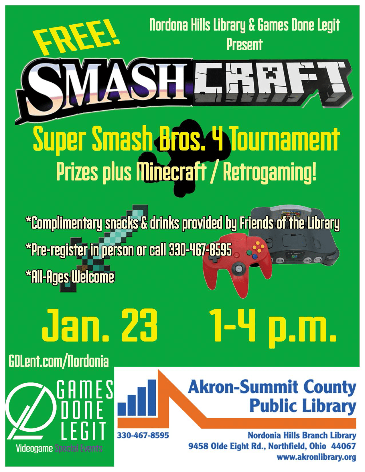 SmashCraft – Nordonia Hills Library Videogame Event
