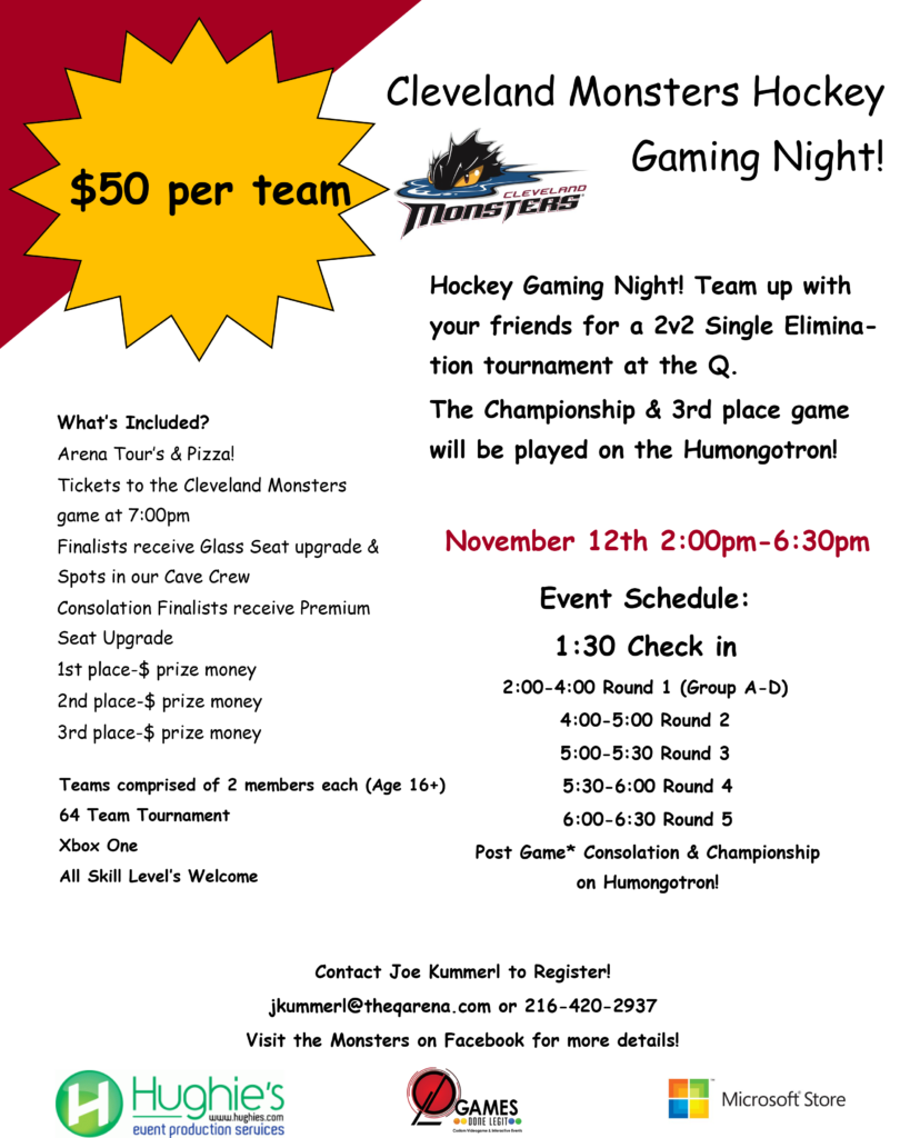 Cleveland Monsters NHL 17 videogame hockey tournament with Games Done Legit and Microsoft